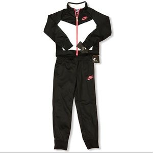 Little Girls Nike Black, White & Pink Track Suit
